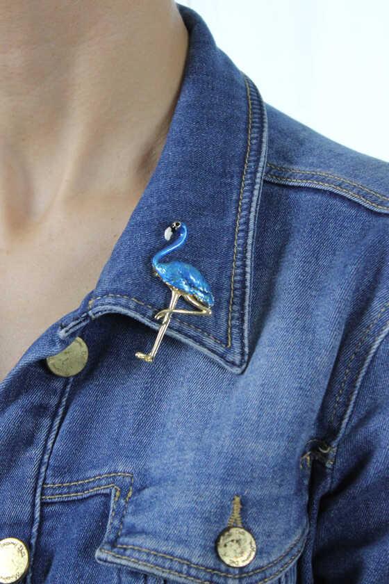Açık Mavi Mineli Flamingo Broş - Thumbnail