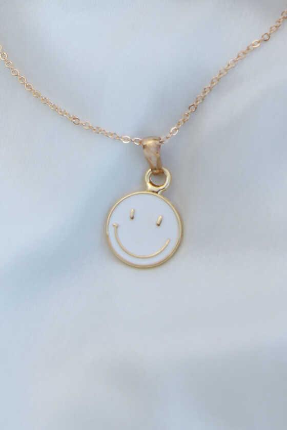 Beyaz Mineli Smile Kolye - Thumbnail