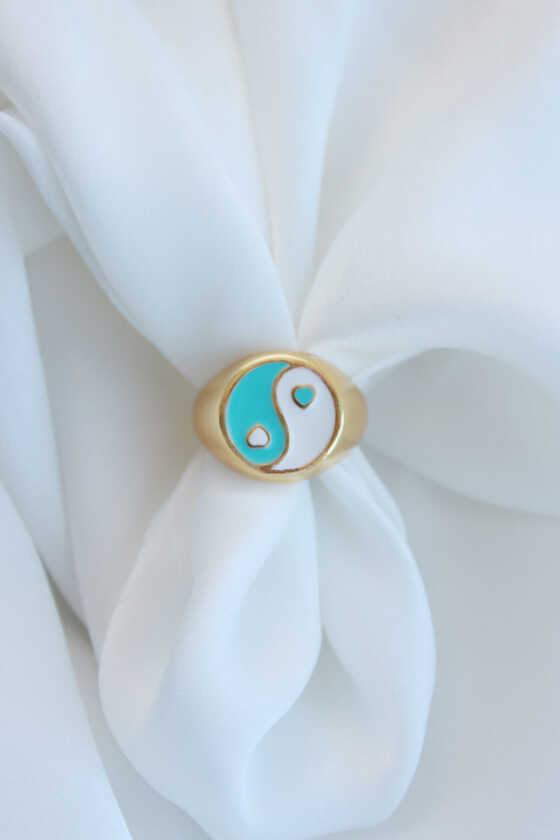 Beyaz-Mint Yeşili Renk Ying-Yang Şovalye Yüzük - Ayarlanabilir - Thumbnail