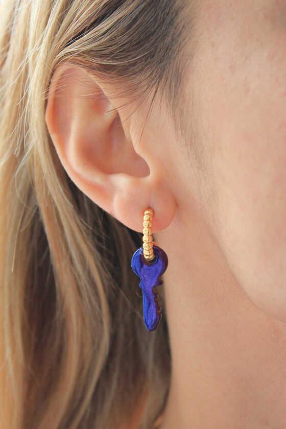 Gold Halka Mavi Pembe Multicolor Anahtar Hematit Küpe - Thumbnail