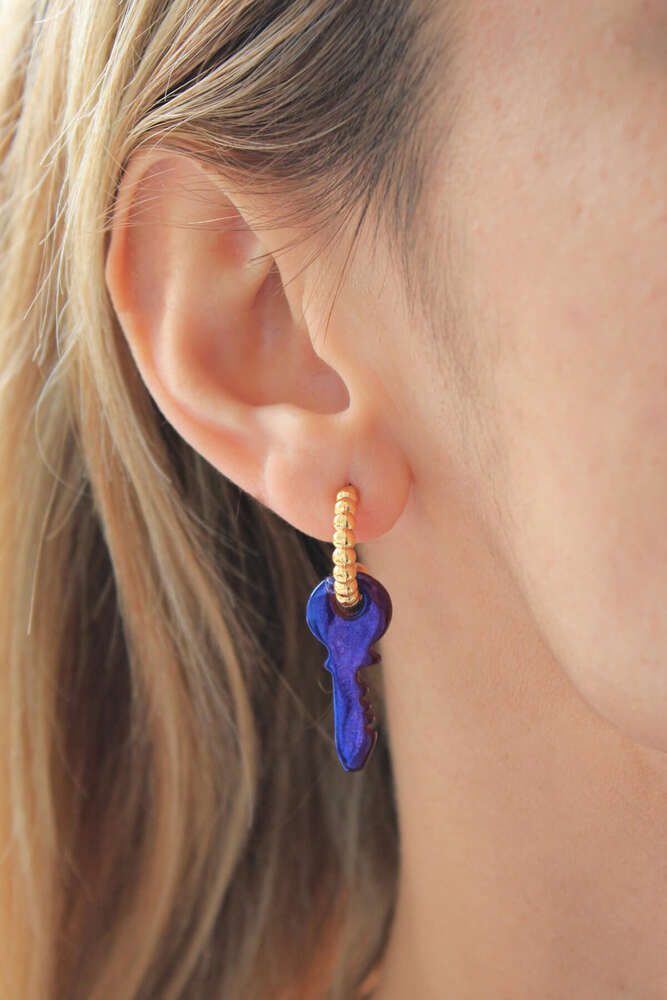 Gold Halka Mavi Pembe Multicolor Anahtar Hematit Küpe