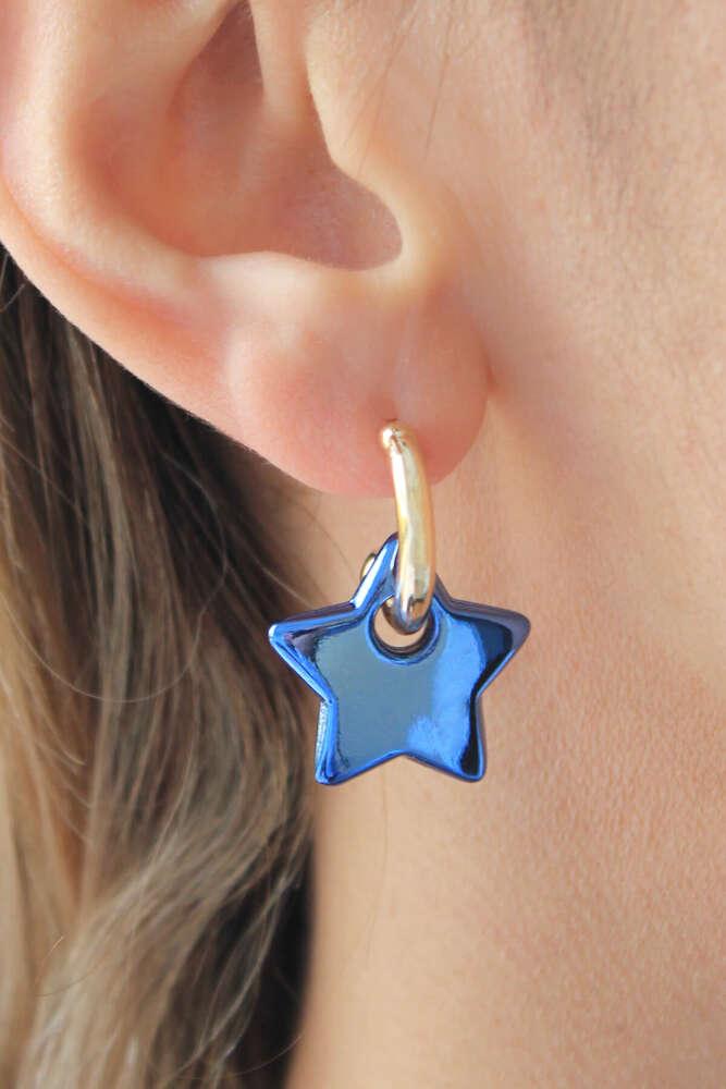 Gold Halka Mavi Yıldız Hematit Küpe