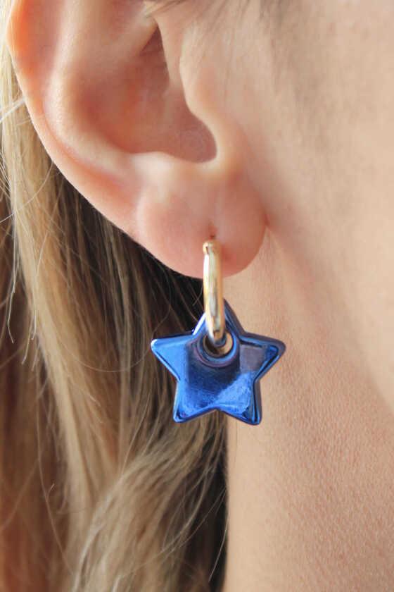 Gold Halka Mavi Yıldız Hematit Küpe - Thumbnail