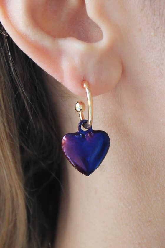 Gold İnce Halkalı Hematit Multicolor Kalp Küpe - Thumbnail