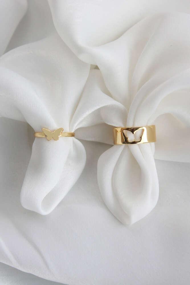 Gold Renk Çiftli Sevgi Yüzüğü - Ayarlamalı