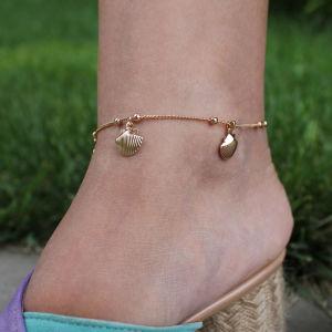 Gold Renk Midye Kabuklu Zincirli Halhal - Thumbnail