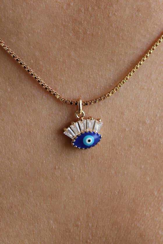 Gold Zirkon Taşlı Mini Mavi Göz Kolye - Thumbnail