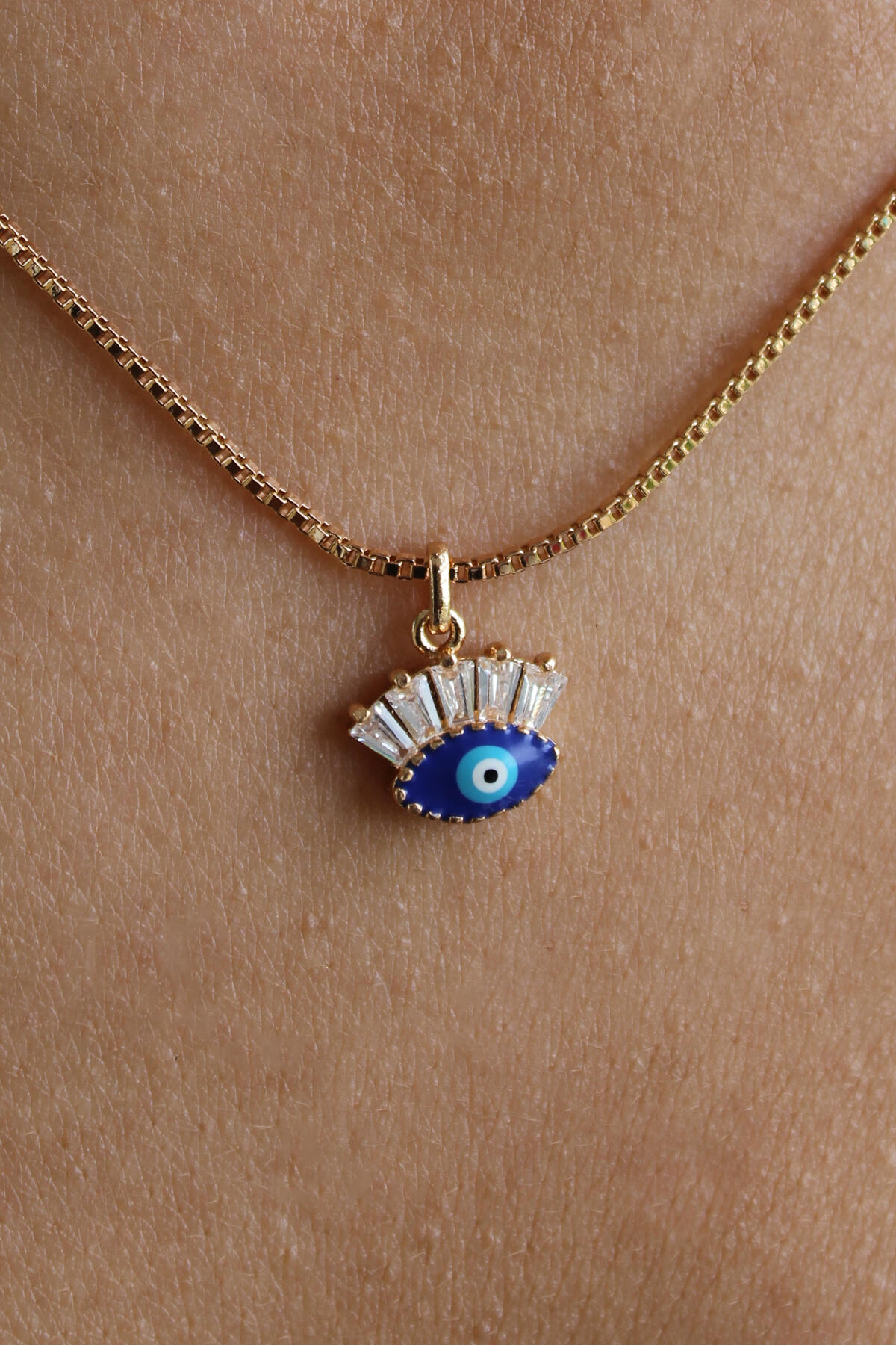 Gold Zirkon Taşlı Mini Mavi Göz Kolye