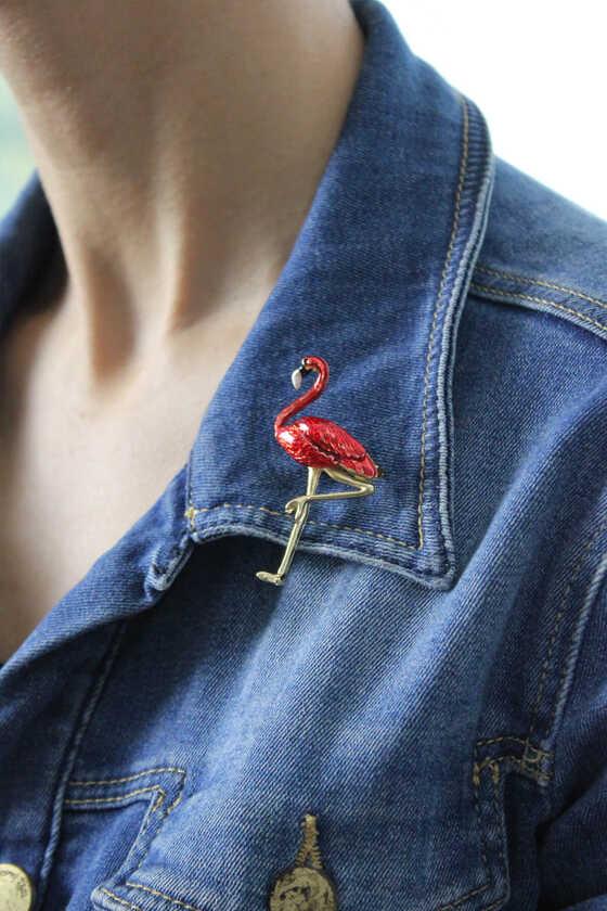 Kırmızı Mineli Flamingo Broş - Thumbnail