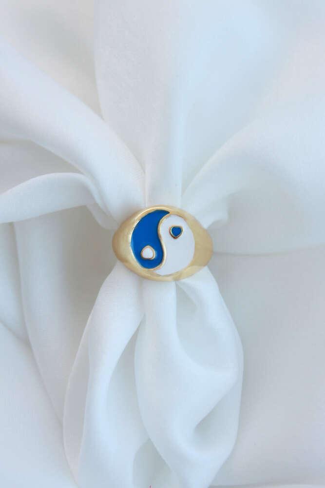 Lacivert Beyaz Renk Ying Yang Yüzük - Ayarlamalı