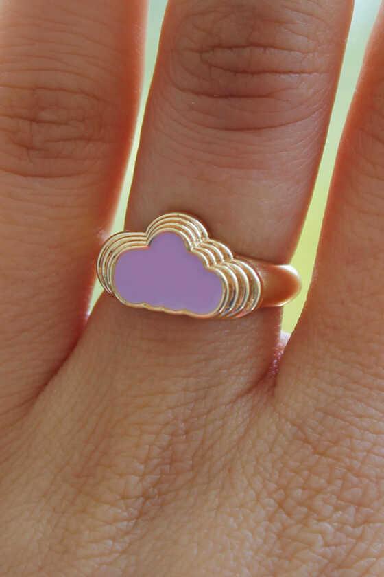 Lila Bulut Yüzük Gold Renk - Thumbnail