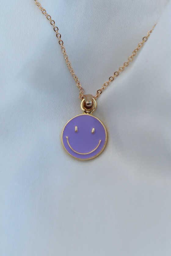 Lila Mineli Smile Kolye - Thumbnail