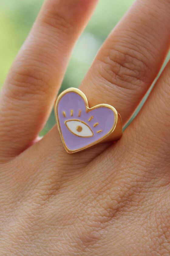 Lila Renk Mineli Göz Detaylı Ayarlanabilir Yüzük - Thumbnail