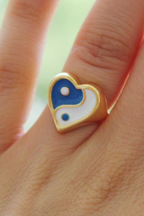 Mavi-Beyaz Kalpli Ying Yang Yüzük - Thumbnail