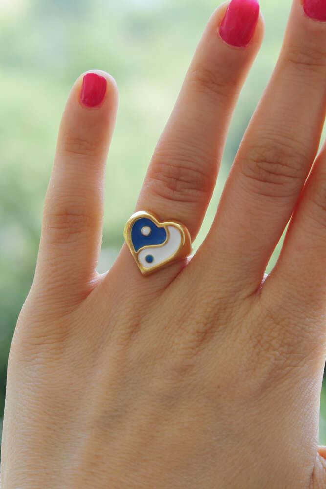 Mavi-Beyaz Kalpli Ying Yang Yüzük