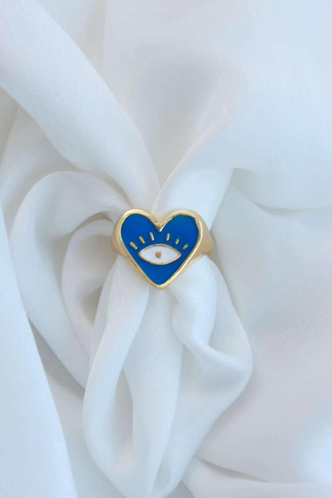 Mavi Mineli Ayarlamalı Kalp Yüzük Göz Detaylı