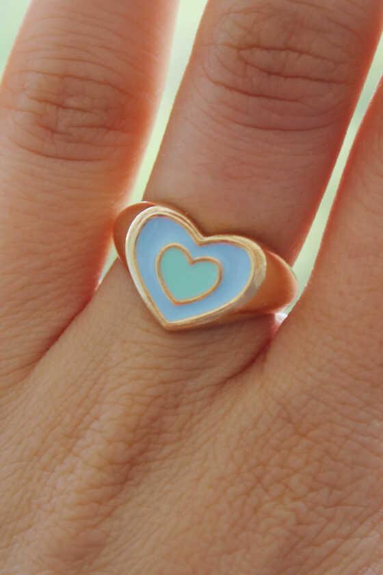 Mavi ve Mint Yeşili Mineli Gold Kalp Yüzük - Thumbnail