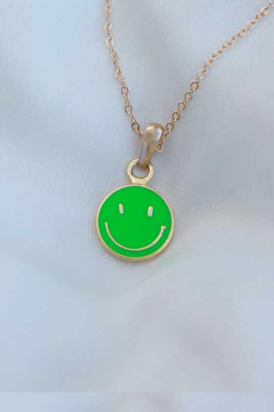 Mineli Gülen Yüz Yeşil Kolye - Thumbnail