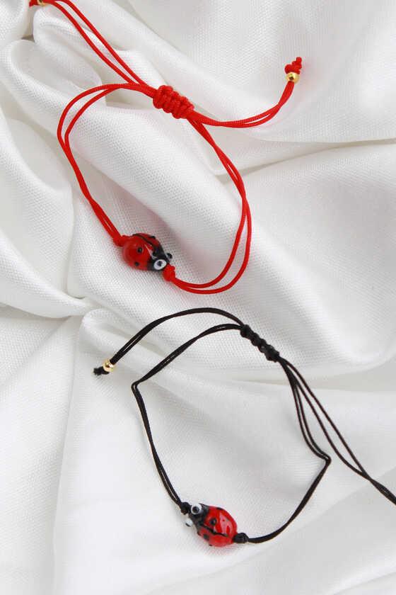 Uğur Böceği Bileklik - Kırmızı İpli - Thumbnail