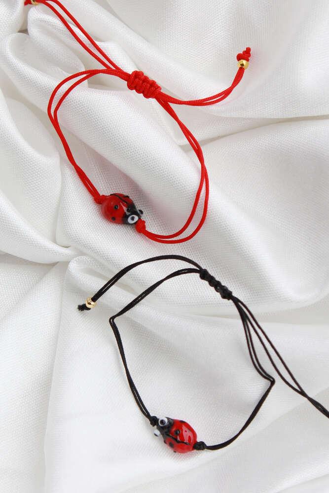 Uğur Böceği Bileklik - Kırmızı İpli