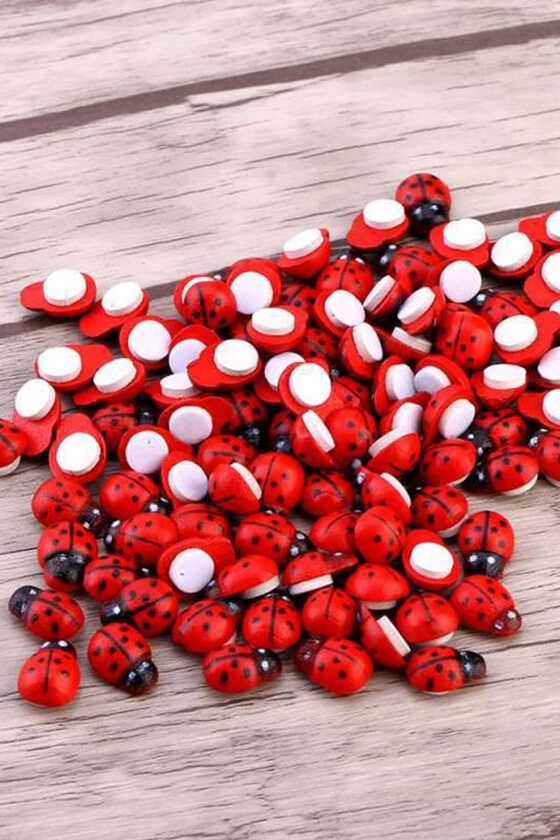 Yapışkanlı Uğur Böceği Kırmızı Renk - 50li Paket - Thumbnail