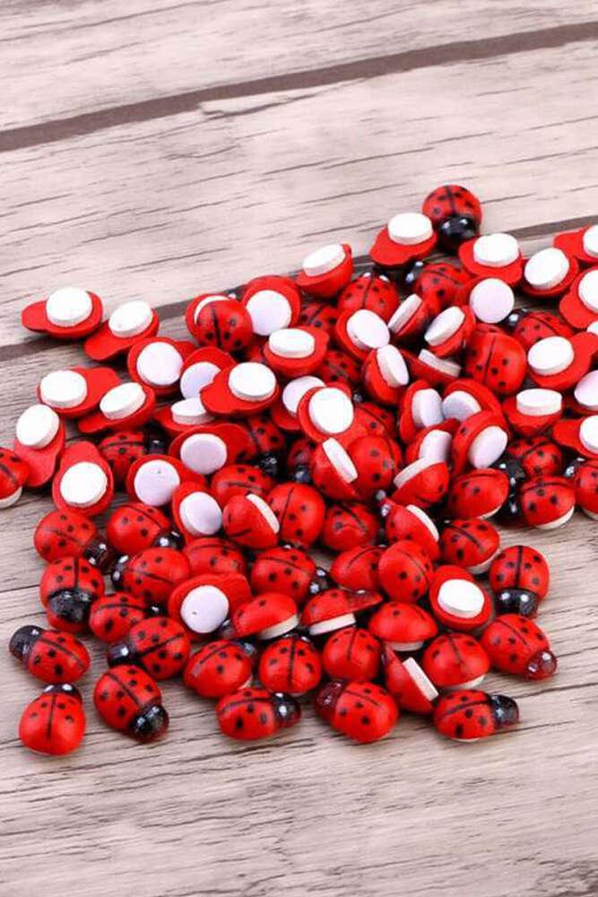 Yapışkanlı Uğur Böceği Kırmızı Renk - 50li Paket