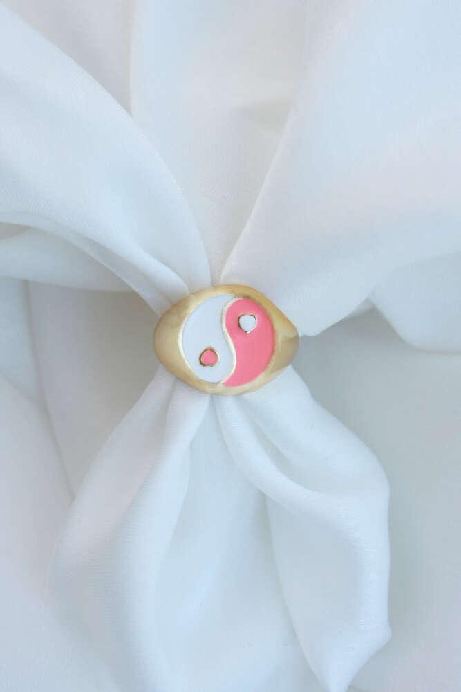 Ying-Yang Beyaz-Somon Renk Mineli Yüzük