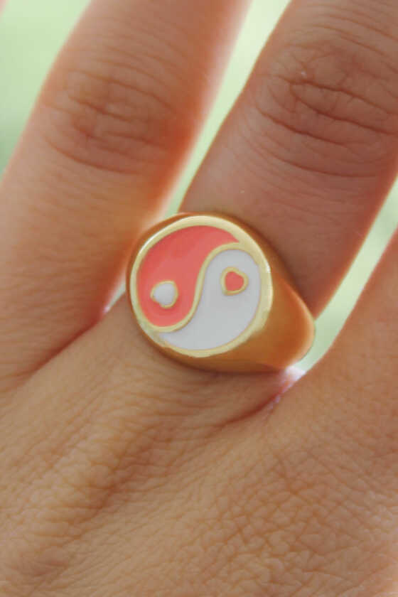 Ying-Yang Beyaz-Somon Renk Mineli Yüzük - Thumbnail