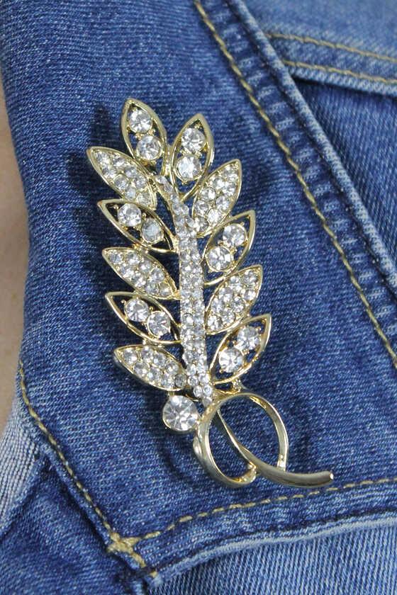 Zirkon Taşlı Gold Yaprak Broş - Thumbnail