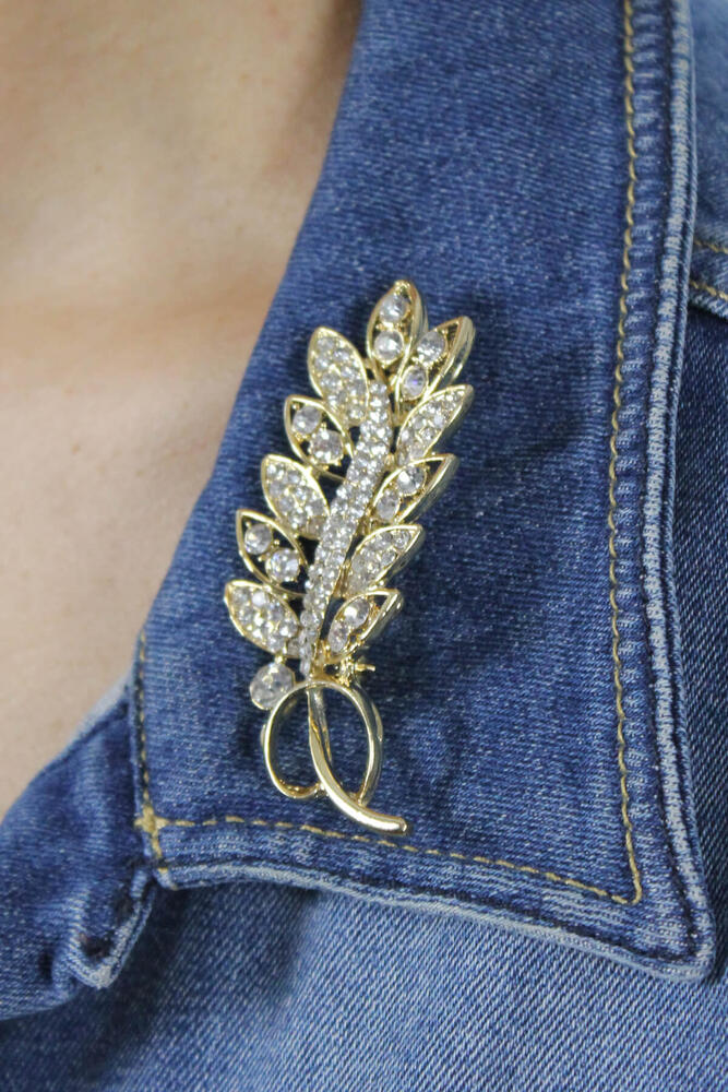 Zirkon Taşlı Gold Yaprak Broş